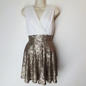 Double Zero White & Gold Mini Dress